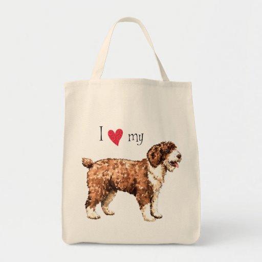 Amo mi perro de agua español bolsa tela para la compra