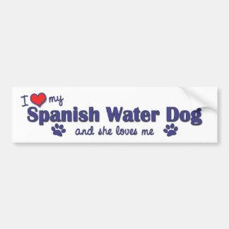 Amo mi perro de agua español (el perro femenino) pegatina para auto
