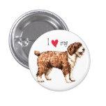 Amo mi perro de agua español pin redondo de 1 pulgada