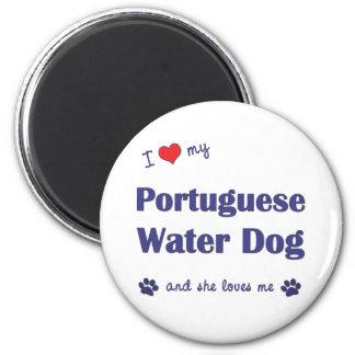 Amo mi perro de agua portugués (el perro femenino) imán redondo 5 cm