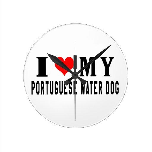 Amo mi perro de agua portugués relojes de pared