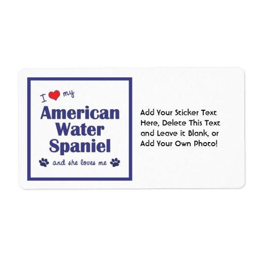 Amo mi perro de aguas de agua americana (el perro etiquetas de envío