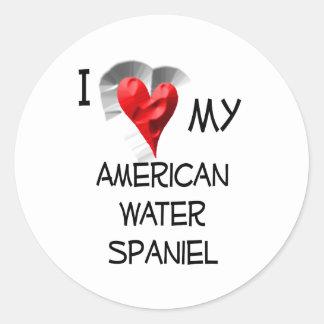 Amo mi perro de aguas de agua americana etiquetas