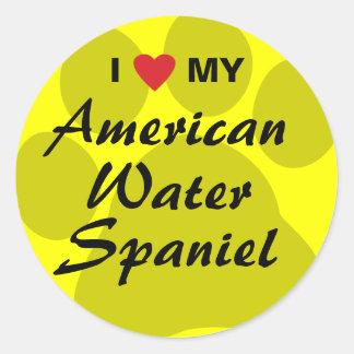 Amo mi perro de aguas de agua americana pegatina redonda