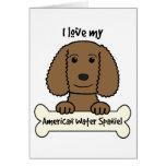 Amo mi perro de aguas de agua americana tarjeta pequeña