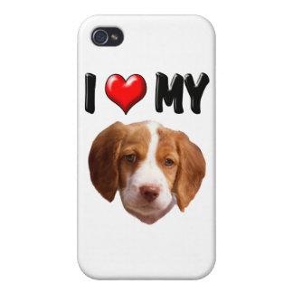 Amo mi perro de aguas de Bretaña iPhone 4 Protectores