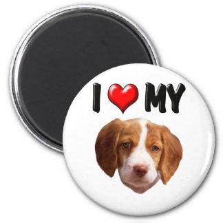 Amo mi perro de aguas de Bretaña Imán Redondo 5 Cm
