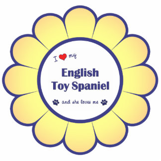 Amo mi perro de aguas de juguete inglés (el perro  adorno fotoescultura