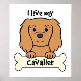 Amo mi perro de aguas de rey Charles arrogante Póster