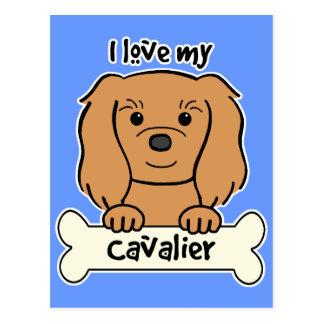 Amo mi perro de aguas de rey Charles arrogante Postal