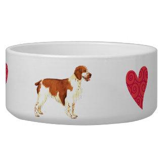 Amo mi perro de aguas de saltador galés comedero para mascota