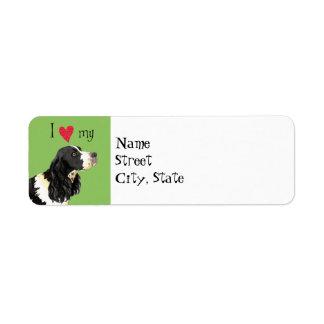 Amo mi perro de aguas de saltador inglés etiquetas de remite