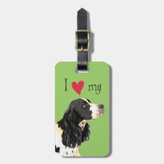 Amo mi perro de aguas de saltador inglés etiquetas para maletas