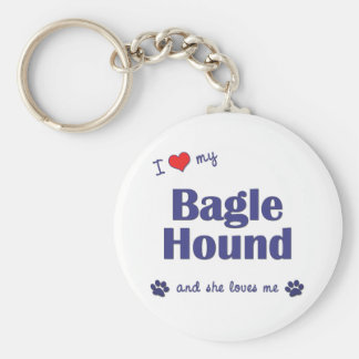 Amo mi perro de Bagle (el perro femenino) Llavero