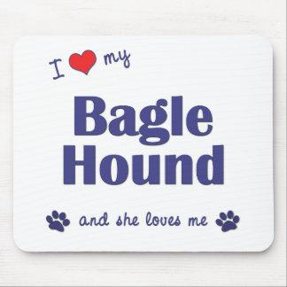 Amo mi perro de Bagle (el perro femenino) Mousepad