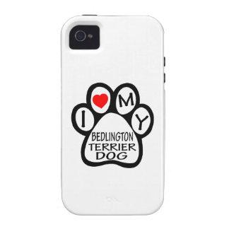 Amo mi perro de Bedlington Terrier iPhone 4 Fundas