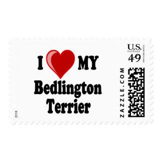 Amo mi perro de Bedlington Terrier Sello