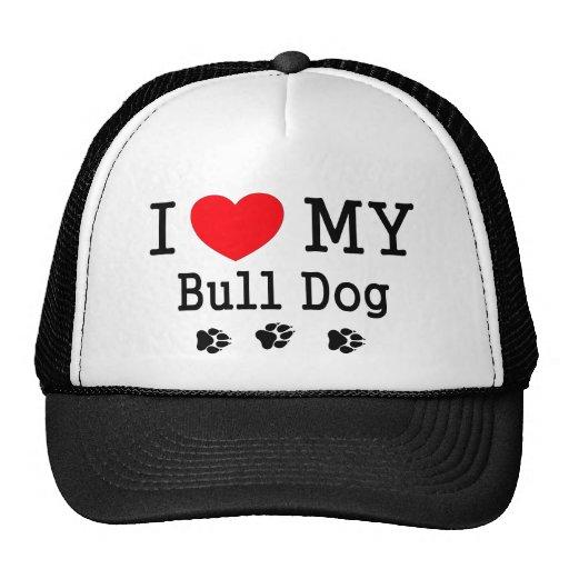 ¡Amo mi perro de Bull! Gorras De Camionero