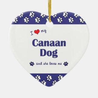 Amo mi perro de Canaan (el perro femenino) Adorno De Cerámica En Forma De Corazón