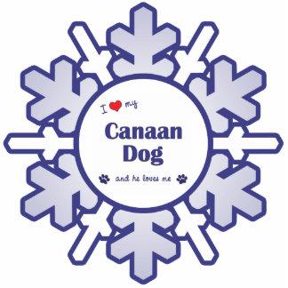 Amo mi perro de Canaan (el perro masculino) Adorno Fotoescultura