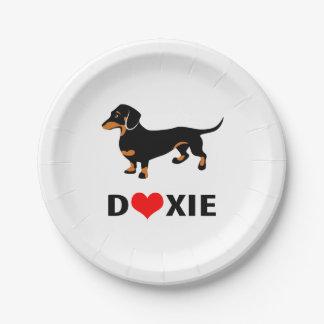 Amo mi perro de Doxie - Dachshund lindo con el Plato De Papel De 7 Pulgadas