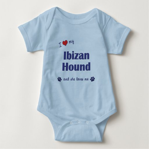 Amo mi perro de Ibizan (el perro femenino) Mameluco De Bebé
