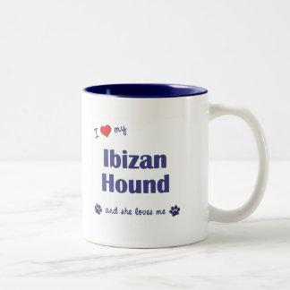 Amo mi perro de Ibizan (el perro femenino) Taza Dos Tonos