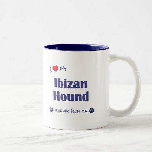 Amo mi perro de Ibizan (el perro femenino) Taza De Café