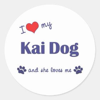 Amo mi perro de Kai (el perro femenino) Pegatina Redonda