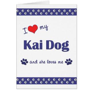 Amo mi perro de Kai (el perro femenino) Tarjeta Pequeña