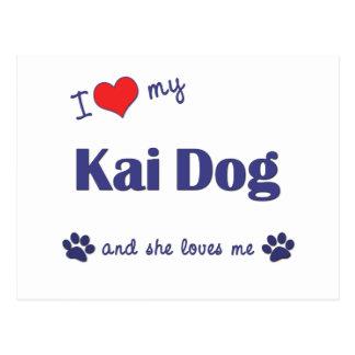 Amo mi perro de Kai (el perro femenino) Tarjeta Postal