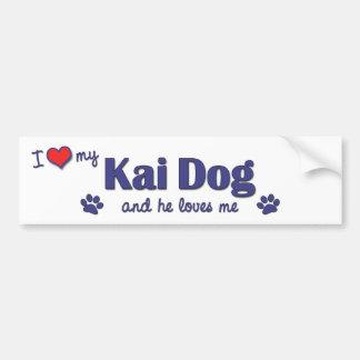 Amo mi perro de Kai (el perro masculino) Etiqueta De Parachoque
