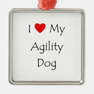 Amo mi perro de la agilidad adorno navideño cuadrado de metal