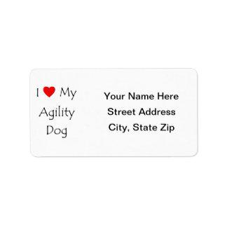 Amo mi perro de la agilidad etiqueta de dirección