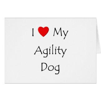Amo mi perro de la agilidad tarjeta pequeña