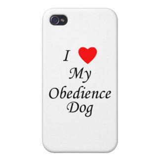 Amo mi perro de la obediencia iPhone 4 carcasas