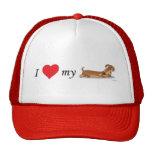 Amo mi perro de la salchicha de Frankfurt Gorras