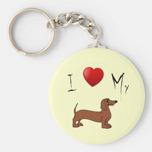 Amo mi perro de la salchicha de Frankfurt Llavero