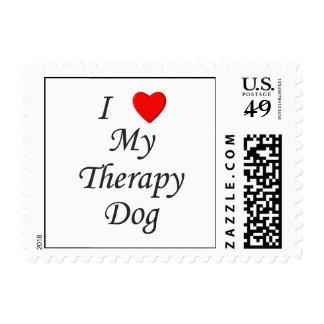 Amo mi perro de la terapia sellos postales