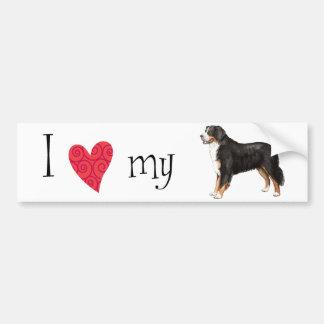 Amo mi perro de montaña de Bernese Etiqueta De Parachoque
