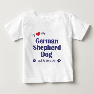 Amo mi perro de pastor alemán (el perro masculino) playera de bebé