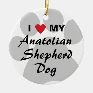 Amo mi perro de pastor de Anatolia Adorno Navideño Redondo De Cerámica