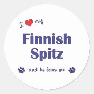 Amo mi perro de Pomerania finlandés (el perro Etiqueta Redonda