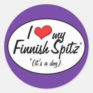 Amo mi perro de Pomerania finlandés (es un perro) Pegatinas Redondas