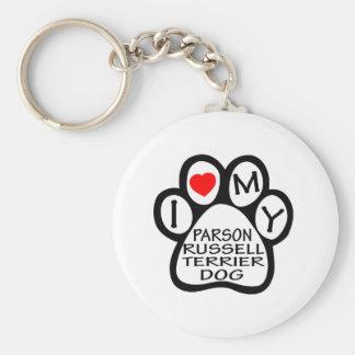 Amo mi perro de Russell Terrier del párroco Llavero Personalizado