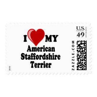 Amo mi perro de Staffordshire Terrier americano Sello