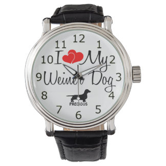 Amo mi perro de Weiner Reloj De Mano