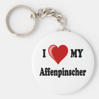 Amo mi perro del Affenpinscher Llavero Personalizado