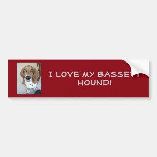 ¡Amo mi perro del Bassett!  Pegatina para el Pegatina Para Auto