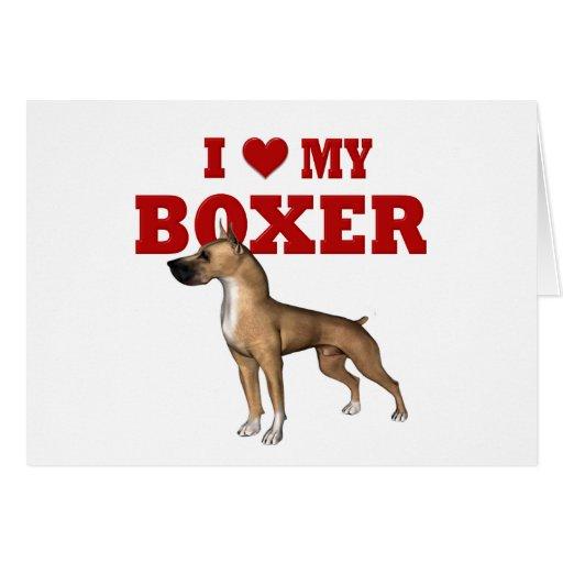 Amo mi perro del boxeador felicitacion